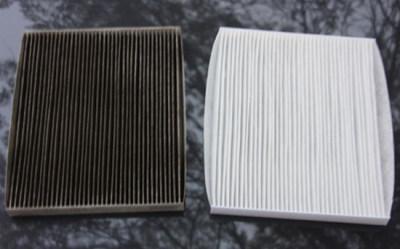 Грязный и чистый салонный фильтр